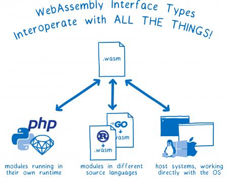 Un diagramme avec un fichier .wasm qui dialogue avec : des modules qui s'exécutent dans leurs environnements (ex. PHP, Ruby, Python) ; des modules écrits depuis d'autres langages sources (ex. Rust, Go) ; des systèmes hôtes qui fonctionnent directement avec le système d'exploitation. En haut : le slogan : Les types d'interfaçage WebAssembly : l'interopérabilité pour tous.