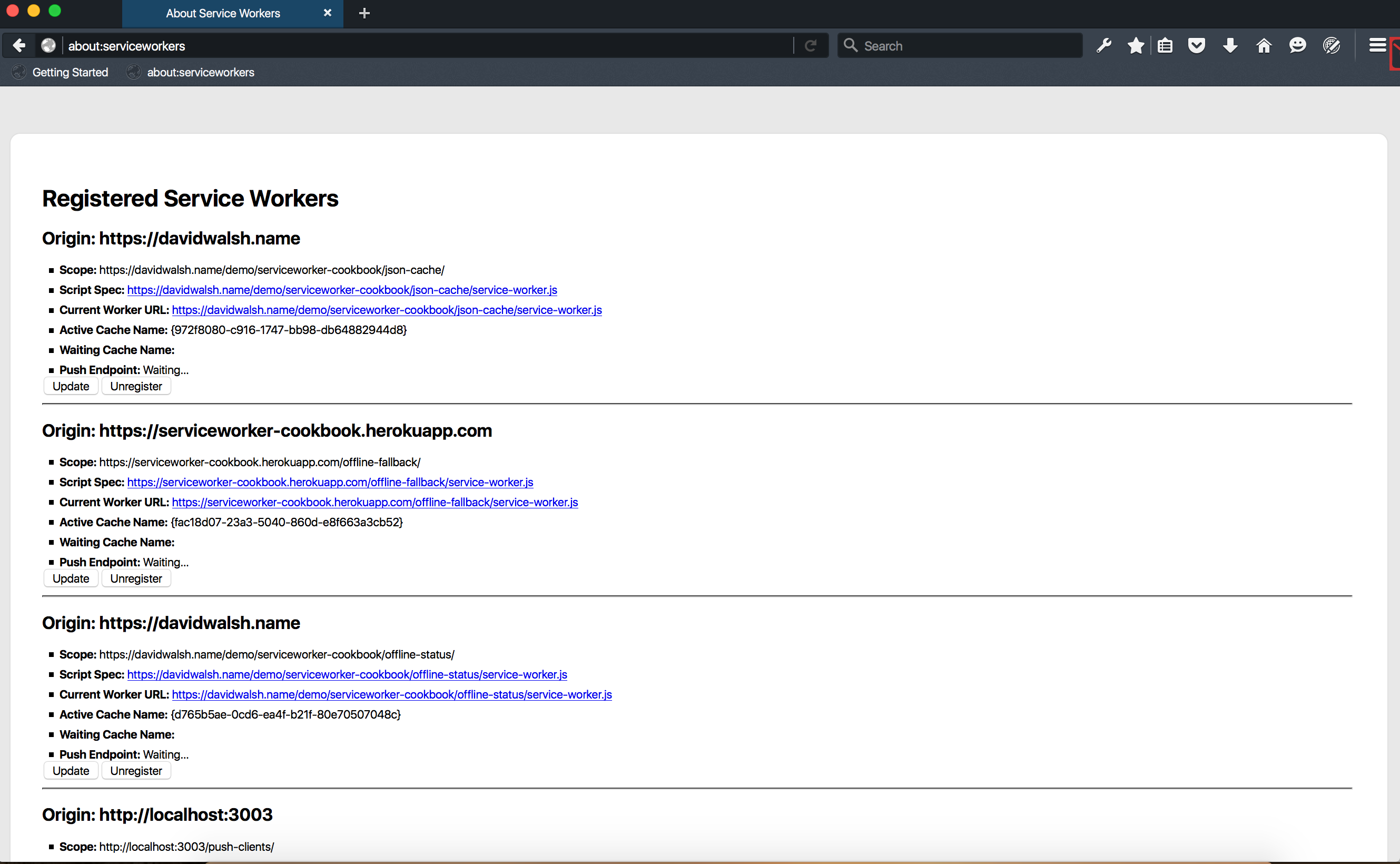 Page about:serviceworkers dans Firefox Developer Edition