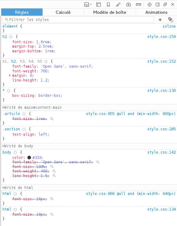 La cascade CSS via l'inspecteur