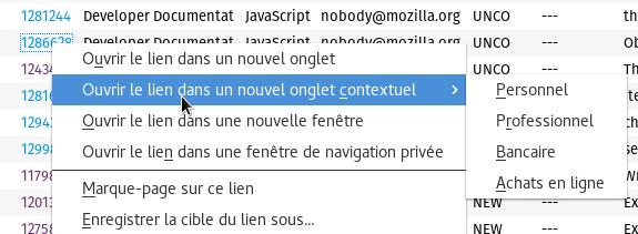 Nouvelle option du menu contextuel via les liens